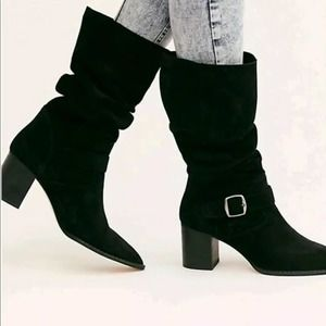FREE PEOPLE Dahlia Black Suede Knee High Boots NEW
